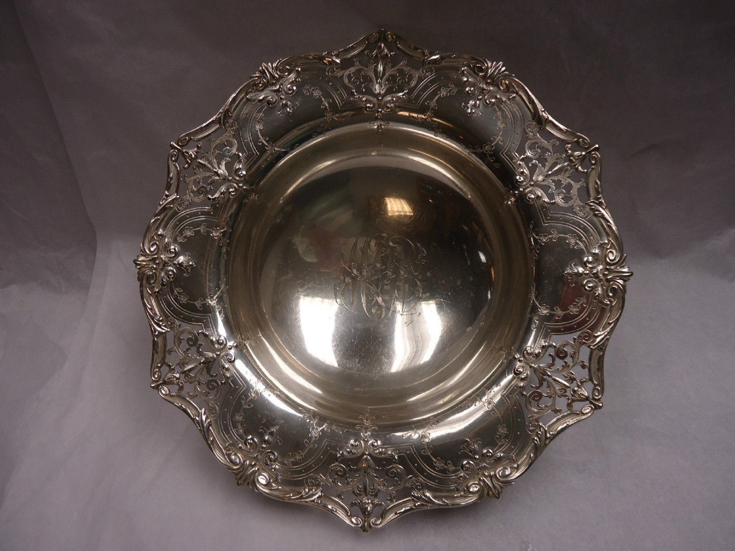 Sterling Silver Bowl with Brite Cut by Graff, Washbourne and Dunn