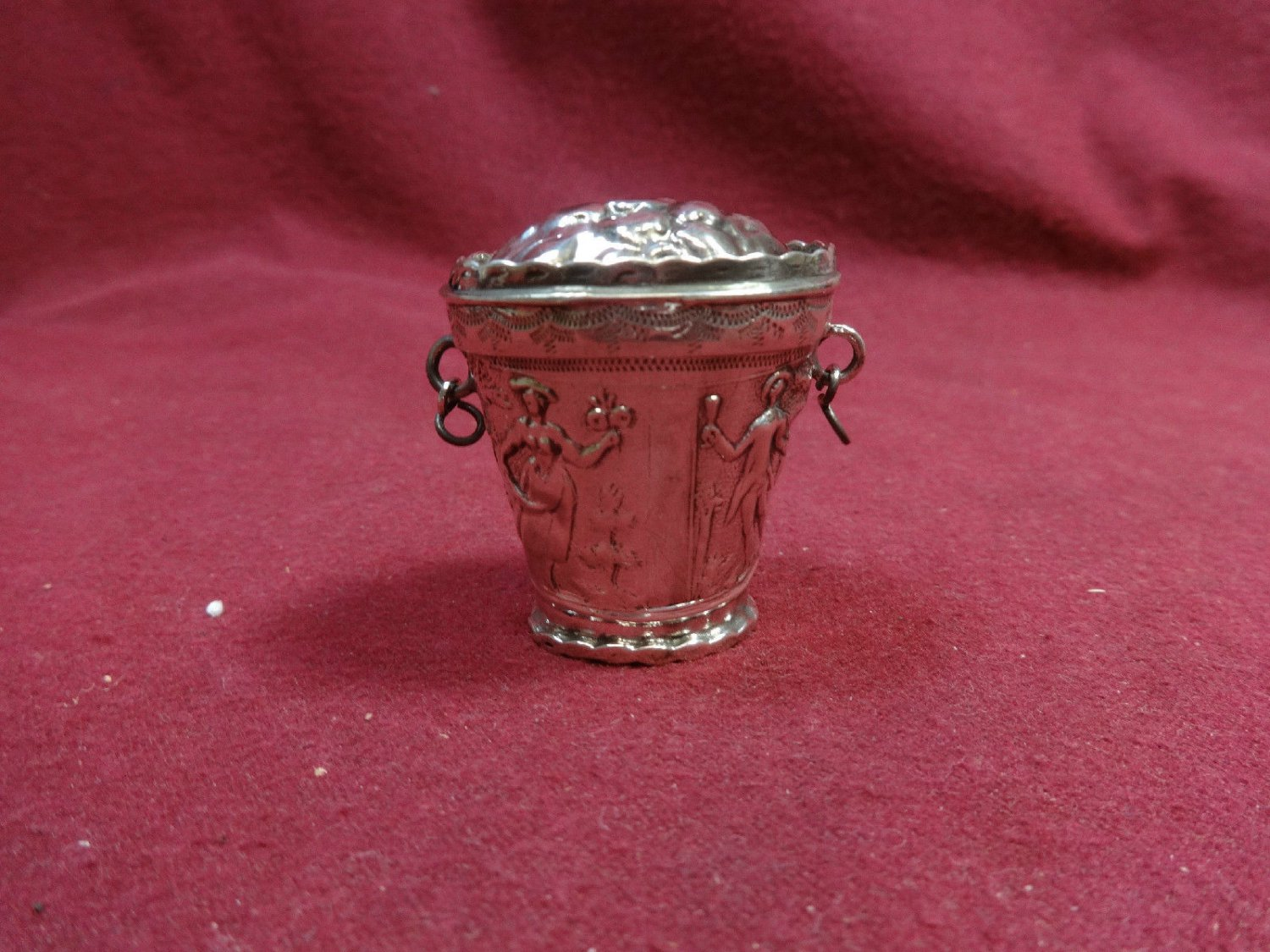 Sterling Silver Basket with Colonial Figures  (#393)