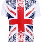 Mens White Union Jack Short Sleeved T Shirt