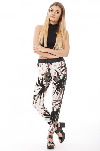 Ladies Black Elasticated Abstract Print Wet Look Trousers L/XL