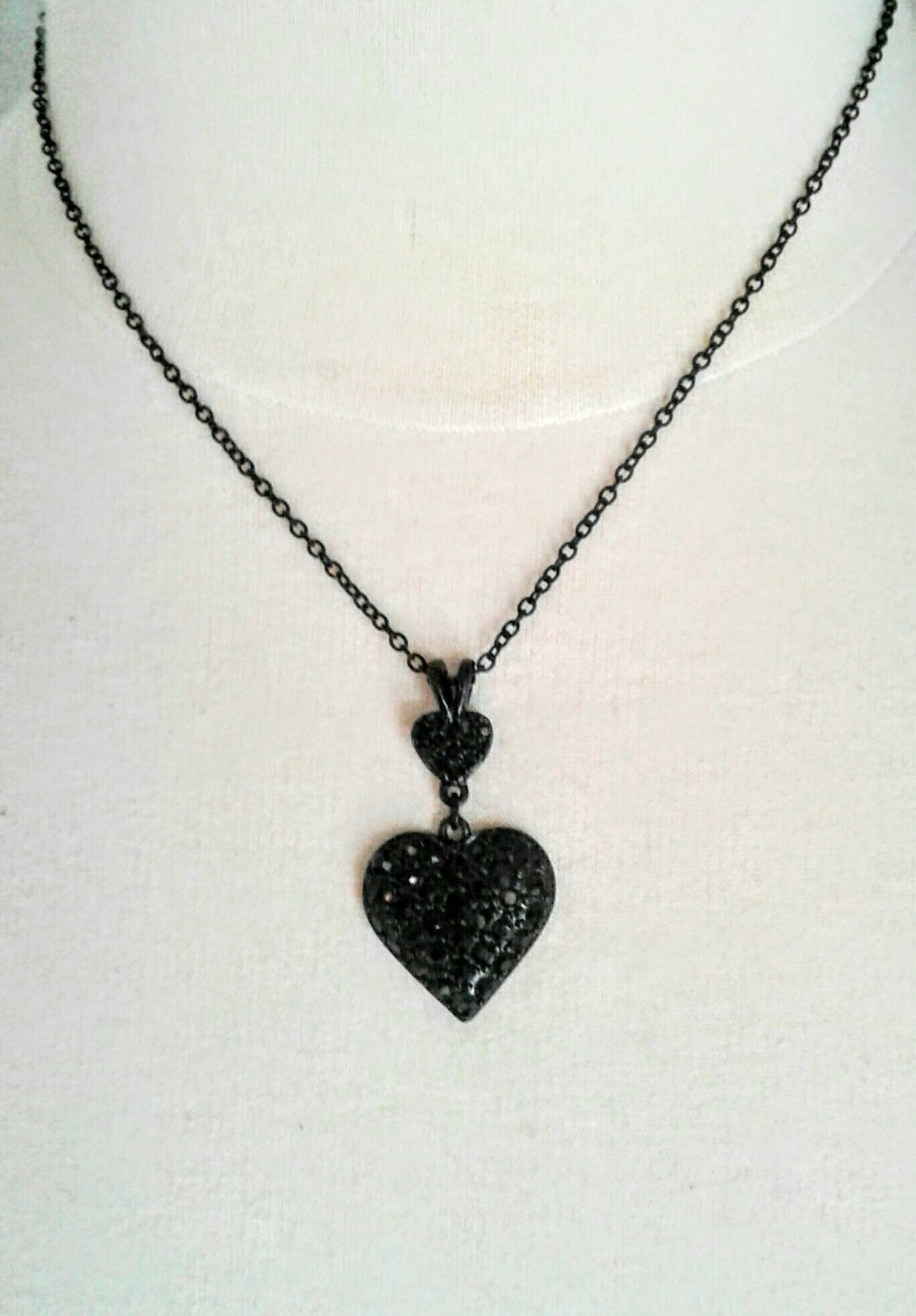 Vintage Double Heart Black Crystal Necklace, Double Heart Necklace, Crystal Heart Necklace