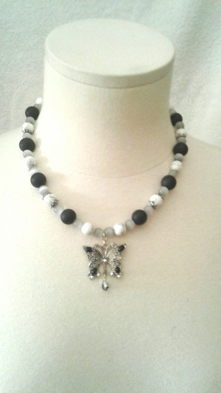 Handmade Black Onyx Tiger's Eye and White Butterfly Necklace Set, Butterfly Necklace Set