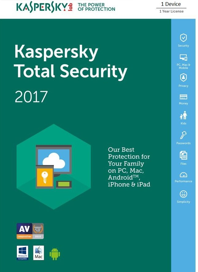Kaspersky Total Security 2017 1 Device 1 Year EU/UK