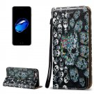For iPhone 8 & 7 3D Relief Skull Pattern Leather Case with Holder, Card Slots & Lanyard