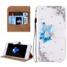 For iPhone 8 & 7 Fevelove Butterflies Diamond Leather Case with Magnetic Buckle & Card Slots