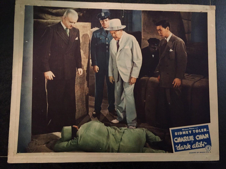 CHARLIE CHAN in DARK ALIBI LOBBY CARD, MONOGRAM PICTURE 1946, SIDNEY TOLER