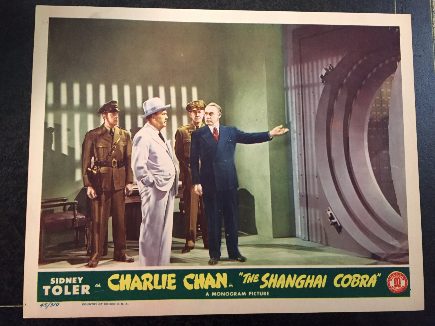 CHARLIE CHAN as THE SHANGHAI COBRA LOBBY CARD, MONOGRAM PICTURE 1945, SIDNEY TOLER