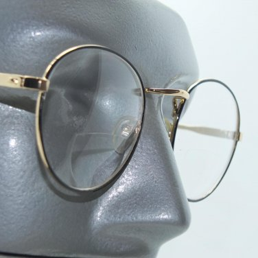 Bifocal Reading Glasses Black Gold Round Metal Frame+3.25