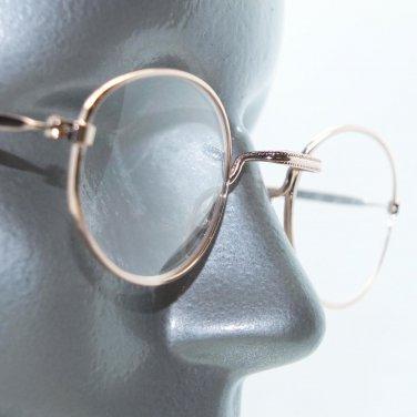 Rock Star Shiny Gold Metallic Oval Reading Petite Glasses +3.50 Lens Strength