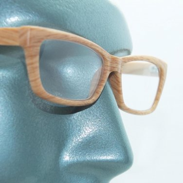 Eco Reading Glasses Pine Wood Effect Contemporary Low Rise Profile +3.00 Lens