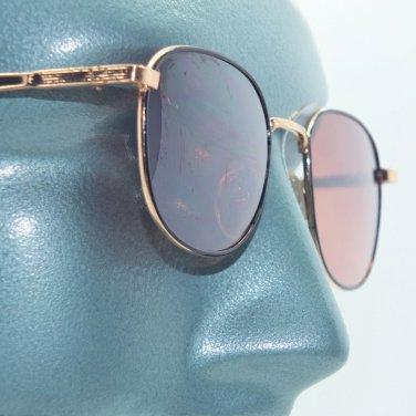 Petite Size Metal Black and Gold Frame Driving Glasses Round Orange Lens
