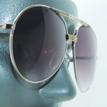 Large Gray Lens Double Bridge Big Gold Frame Aviator Sunglasses Sun Shades