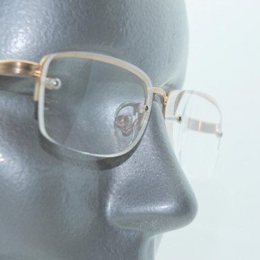 Reading Glasses Top Gold Metal Half Frame Bottomless Classic +3.25 Lens Strength