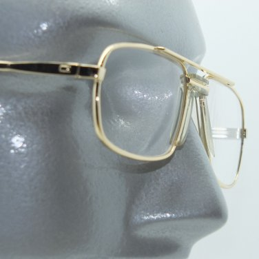 Reading Glasses +1.00 Lens Gold Metal Classic 80's Square Frame Large Nose Piece