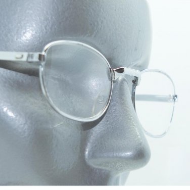 Reading Glasses Low Profile Polished Silver Small Metal Frame +1.50 Lens