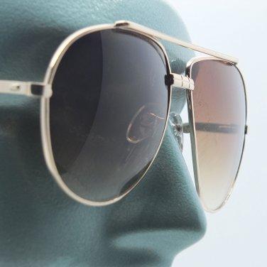 Big Brown Lens Gold Frame Straight Bridge Classic Aviator Sunglasses Sun Shades