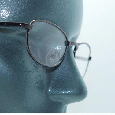 Small Oval Metal Hematite Shiny Gray Frame Reading Glasses +1.00 Lens