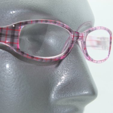 Preppy Style Plaid Frame Reading Glasses +2.00 Lens Strength Pink Clear Black