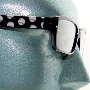 Reading Glasses Baseball Fan Sports Ball Classic Black Frame +2.25 Lens Strength