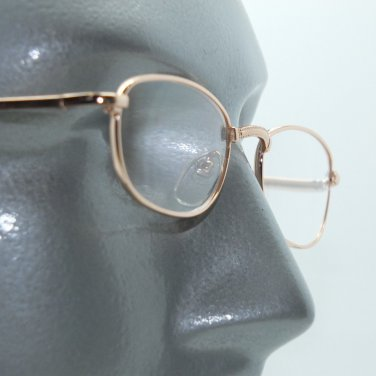 No Fuss Simple Metal Gold Wire Frame Reading Glasses +2.00 Lens Strength