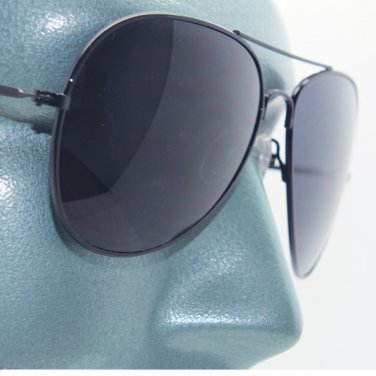 Lightweight Aviator Sunglasses Metal Black Frame Gray Lens