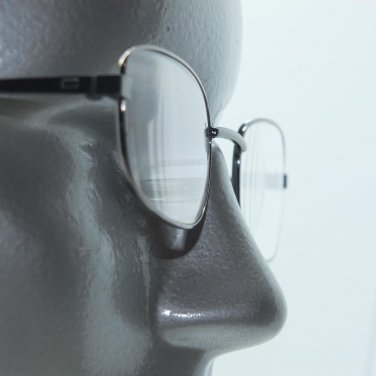 Small Rectangle Classic Reading Glasses Shiny Gray Metal Frame +1.50 Lens