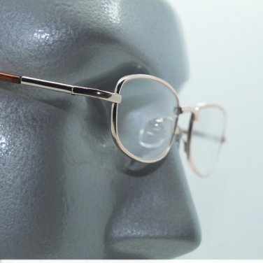 Low Profile Small Wire Reading Glasses Spring Hinge Gold Metal Frame +2.50 Lens
