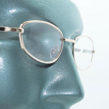 Wire Rim Polished Gold Frame Reading Glasses Lightweight Small Lens +2.00