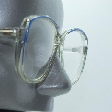 Bifocal Reading Glasses Big Bold Statement Frame Clear Blue Accents +3.25 Lens