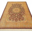 burgundy design Persian silk rug qom handmade 100% pure silk 600/kpsi