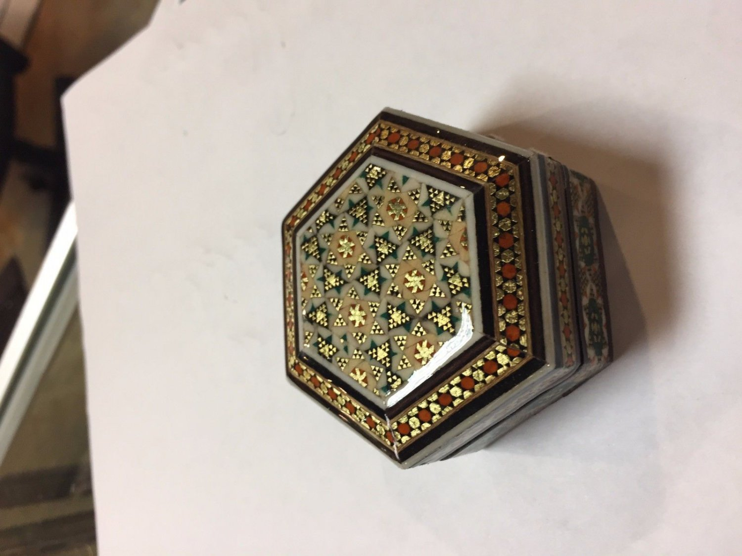 INLAID TRINKET WOODEN BOX BRASS khatamkari ART DECORATIVE GIFT DEAL