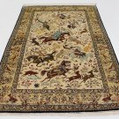hunting design Persian silk carpet/rug qom handmade 100% pure silk 600/kpsi