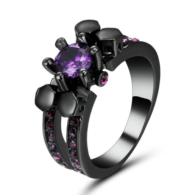 Size 7 Black Rhodium Amethyst Crystal Wedding Ring Propose Anniversary Gift