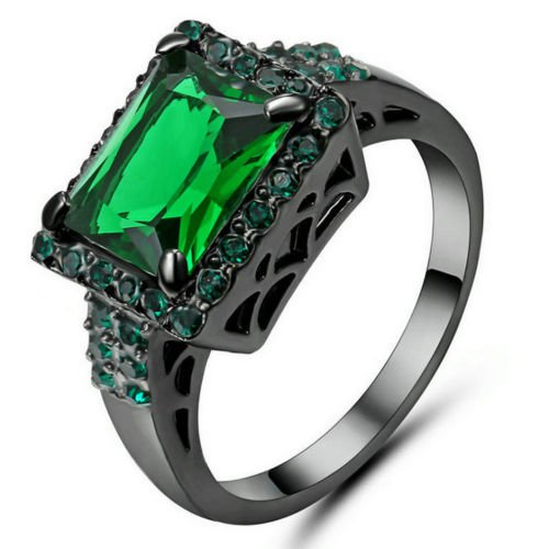 Size 6 Green Emerald Gem  Ring Black Rhodium