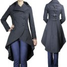 New Gothic Long Black Fishtail CoatLong Jacket 14 16 18 LAST 2