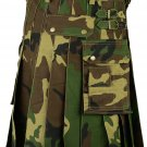 New Camo Scottish Deluxe Army Tartan Goth Outdoor Utility Kilts For Men