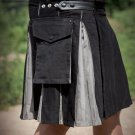 Stylish Black Cotton Stylish Tactical Different Inner Fashion Pocket Men's Kilts