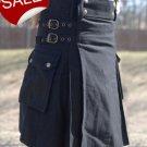 Stylish Men's black work kilt custom order details with free DHL shipping