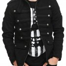 Men Black Guard Military Jacket Steampunk Vintage Pea Coat 100% Cotton