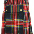 Fashion Scottish Highland Wears Active Men Modern Pocket Black Tartan Kilt
