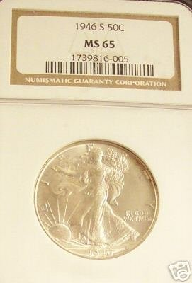 1946-s Silver Walking Liberty Half Dollarngc Ms-65