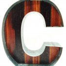 METAL ART - GALVANIZED - STEEL - WOOD - LETTER - C - MODERN - INDUSTRIAL - SIGN
