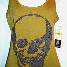 MACY'S - M STYLE LAB - VOGUE - EMBELLISHED - SKULL - GREEN - TANK - TOP - NEW