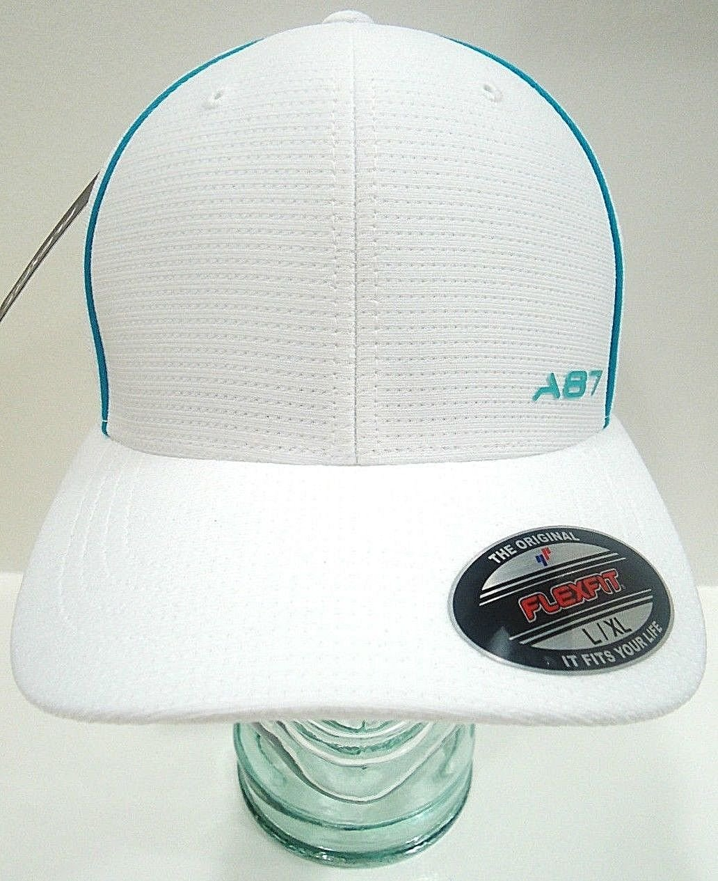 AREOPOSTALE - FLEXFIT - WHITE - AQUA - FITTED - BASEBALL - CAP - NEW - LARGE/XL