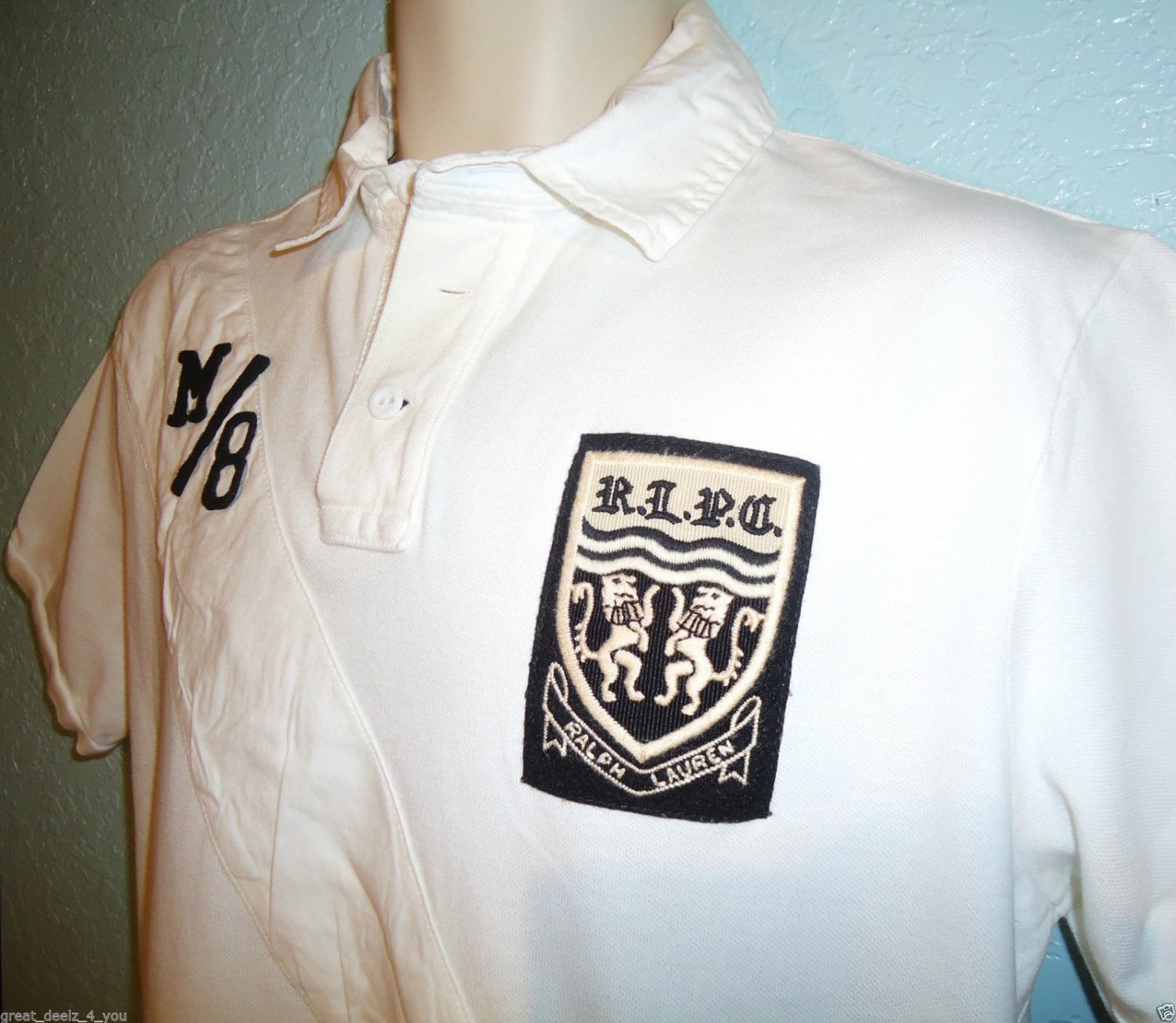 RALPH LAUREN - LARGE - WHITE - BLACK - RUGBY - POLO - SHIRT - NEW - CUSTOM FIT