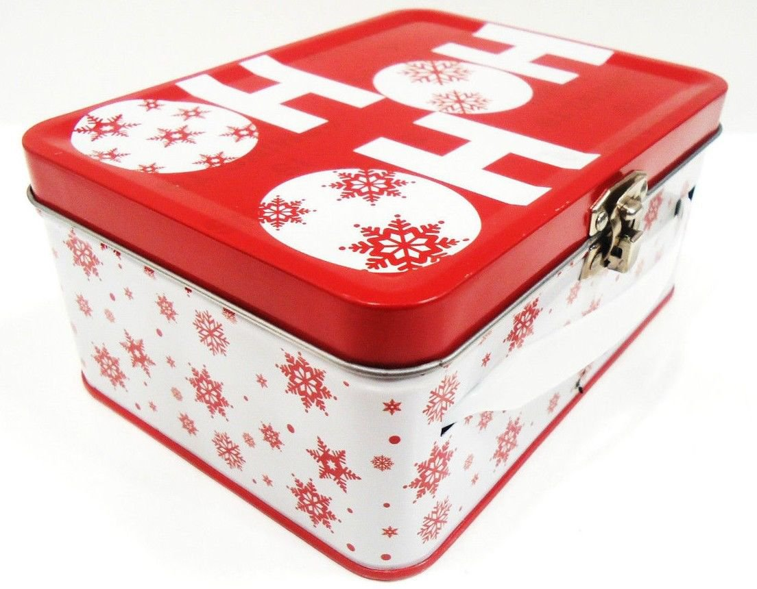 HOME ELEMENTS - CHRISTMAS - SANTA CLAUS - RED - WHITE - MINI - LUNCH - BOX - NEW