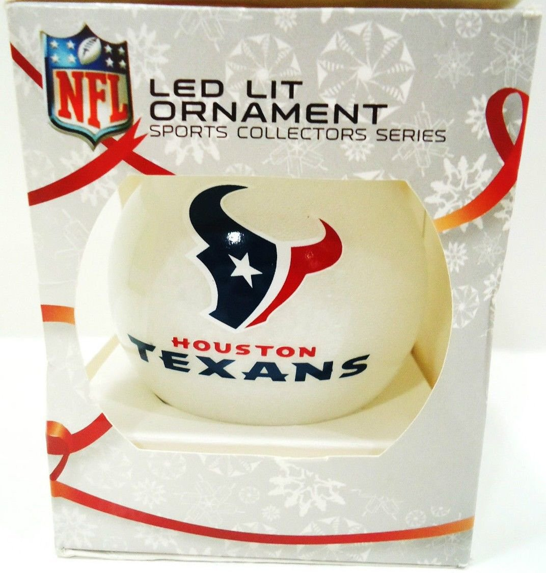 NFL - HOUSTON - TEXANS - COLOR - CHRISTMAS - LED - FOOTBALL - ORNAMENT - NEW