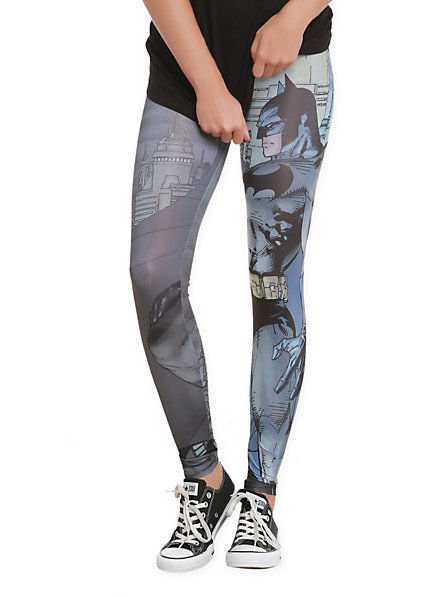 DC COMICS - BATMAN - CARTOON - ANIME - GREY - BLUE - LEGGINGS - M - 7/9 - NEW