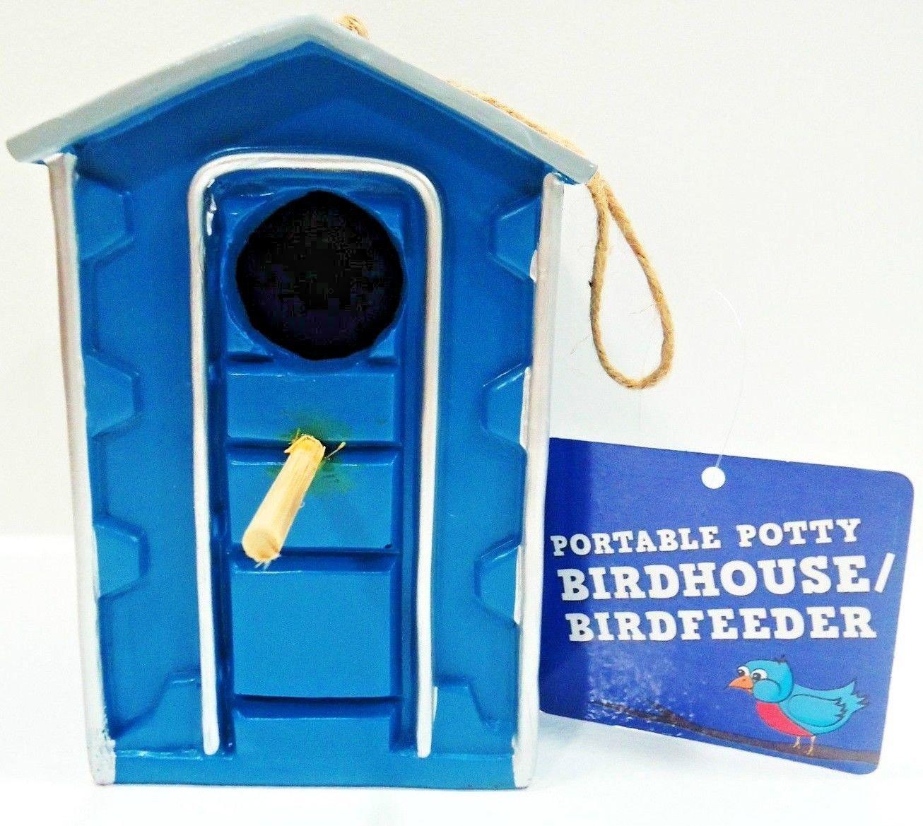 PORTABLE - POTTY - BIRD HOUSE - BIRD FEEDER - BRAND NEW - OUTHOUSE - BIRDS - NIB