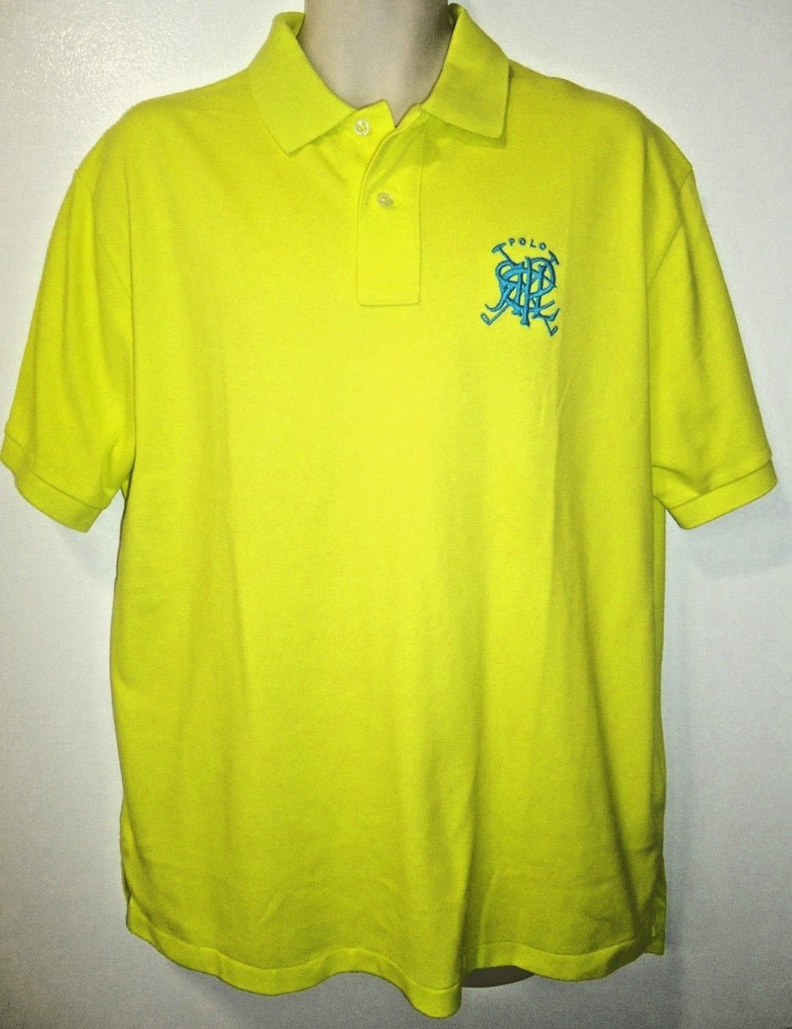 RALPH LAUREN - XL - CROSSED - MALLETS - FLORESCENT - GREEN - POLO - SHIRT - NEW